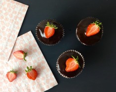 Dark Chocolate Strawberry Cupcakes