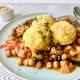 Sesam & Orangen-Polenta auf Kichererbsen-Gemüse