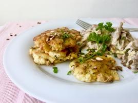 Kartoffel-Majoran-Rösti mit Austernpilz-Lauch-Ragout